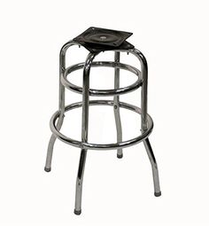 "American Tables & Seating SR-5J Swivel Bar Stool Jumbo Bucket Seat and Chrome Double Ring Base 3 Pitch Swivel Welded 1"" Chrome Plated Round Steel Tubing Seat Unattached 18"" x 19"" x 42"""