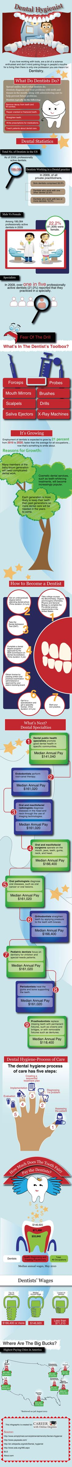 Thinking about being a dental hygienist? This infographic breaks up the salaries, steps and best practice. Logo Dental, Dental Humor, Dental Hygienist, Dental Implants, Dental World, Dental Life, Dental Health, Oral Health, Health Care