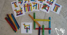 Problem Solving - Pattern Matching Busy Bag with Popsicle Sticks OR Plastic Sticks that snap together | Problem Solving, Busy Bags and Popsicle Sticks