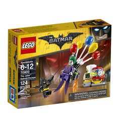 Stage a face-off between The Joker™ and Batman™ at the Gotham City Energy Facility in The LEGO® Batman Movie: The Joker Balloon Escape set, featuring The Joker's detachable balloon backpack and a power plant build. The power plant has a movable bomb element and silo with explode function, while Batman is armed with a grappling gun to intensify role-play battles. Includes two minifigures.
