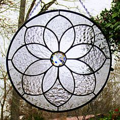 Clear Textures Stained Glass Round Mandala by LivingGlassArt