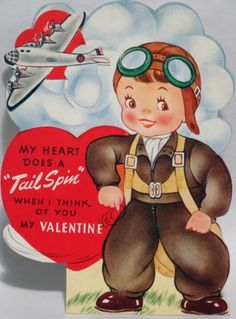 J97 40s Airplane Does a TAIL SPIN! Vintage Mechanical Diecut Valentine Card