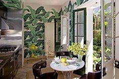 I remember falling in love with Nicky Hilton's swank Hollywood Hills home in 2008 when she offered us a glimpse into her world through In St. Hollywood Hills Homes, Tropical Leaves, Leaf Prints, Home Interior Design, Home And Living, Condo, Banana, Architecture, Wallpaper