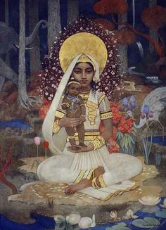 Art by Marianne Stokes (1855 Graz, Styria – August 1927 London). Devaki, Mother of Krishna (tempera and gold paint on paper laid on board). Date Unknown.