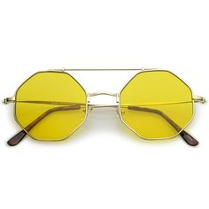 d944bf4f24db Modern Octagon Sunglasses With Crossbar Colored Flat Lens And Ultra Slim  Arms 52mm  sunglasses