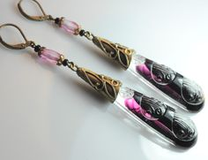 Old Czech earrings with crystal purple glass and stone ornaments.