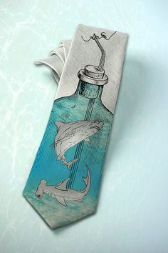 Jaws on mens tie Shark Attak Gray nautical necktie by tiestory