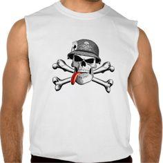 Military Skull and Crossbones Sleeveless Shirts Tank Tops