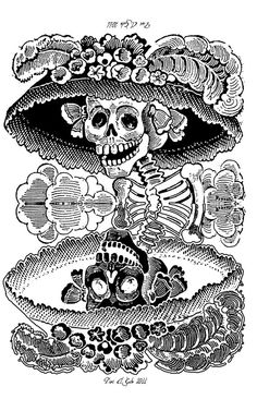 José Guadalupe Posada La Calavera Garbancera best known as La Catrina Mexican Artwork, Mexican Folk Art, Vanitas, Memento Mori, Art Chicano, Mexican Textiles, Day Of The Dead Art, Mexican Artists, Black White