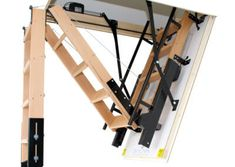 skylark fully automatic folding attic stairs 3 section wooden folding loft ladder with remote control electrical operation