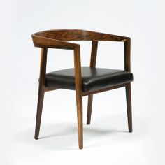 """Joaquim Tenreiro, Brazil, 1960s Set of six chairs in jacaranda with curved backs and upholstered seats. 19"""" L x 22"""" W x 28.5"""" H / 48.26cm L x 55.88cm W x 72.39cm H CH731"""