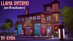 Llama Inferno is a makeover of EA's Waterside Warble karaoke bar in the Spice Market district of San Myshuno. I kept the general footprint and style of the building but gutted the inside and...