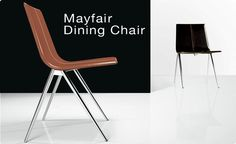 Italian modern design creates a dining chair in leather and steel.