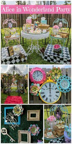 ELEMENTOS RELOGIOS, MOLDURAS COMBINAÇÃO DAS CORES ROSA, AMARELO, AZUL, VERDE E PRETO E BRANCO  Such an amazing Alice in Wonderland birthday party for twin girls in the garden! See more party ideas at CatchMyParty.com!