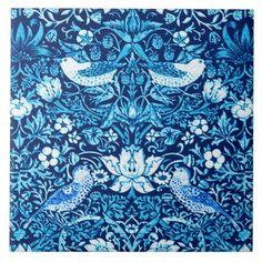 Art Nouveau Bird and Flower Tapestry Dark Blue Ceramic Tile - decor gifts diy home & living cyo giftidea