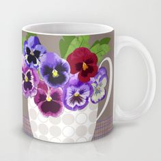 Pansies in Cup Mug by  Val Lesiak - $15.00
