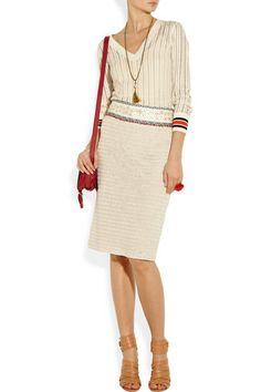 Tory Burch Donovan embellished crochet-knit linen pencil skirt and Ozzy ladder-knit cotton-blend sweater
