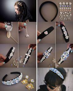 Ободок с камнями и цветами в стиле Dolce & Gabbana своими руками