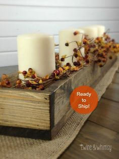Wood Box Centerpiece, Fall Decor, Wood Planter Box, Mason Jar Centerpiece, Farmhouse wood box, Long wood box by TwineandWhimsy on Etsy https://www.etsy.com/listing/208871243/wood-box-centerpiece-fall-decor-wood