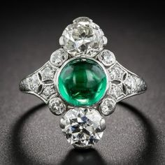 Dreicer & Co. Cabochon Emerald Art Deco Dinner Ring   - Antique & Vintage Gemstone Rings - Vintage Jewelry