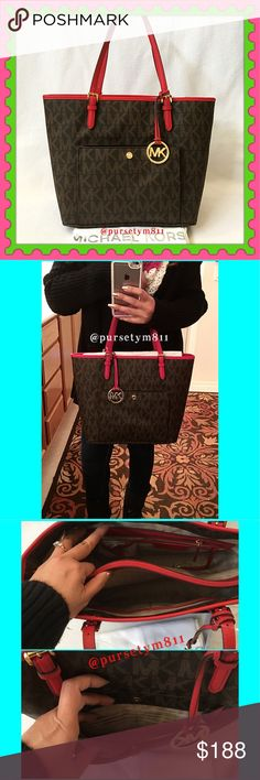 """Authentic Michael Kors LARGE Logo Tote 💯AUTHENTIC 💖 Beautiful LARGE logo Tote from Michael Kors 💕 Lightweight & very spacious. Approximate measurements: Length 15.5"""" Height 11.5 Width almost 6"""" Handles are adjustable. Lots of interior pockets + exterior front compartment. Colors: Brown & Chili 🌶 w/ large MK logo charm. Bottom feet for protection. New w/ tag & dust bag. NO TRADE ❌ PRICE FIRM. Michael Kors Bags"""