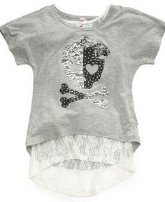 Beautees Kids Shirts Girls Lace Trim Graphic Tees Tshirt T Shirt Shirts Tops and Clothing
