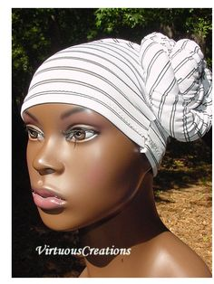 Quinette (BunWrap)-White With Black Stripes-Natural hair accessories, Virtuous creations natural hair accessories, VirtuousCreations, natural hair accessories, natural, hair, hat, accessories, headband, tube, virtuous creations, virtuouscreations,  sisterlocks, dreadlocks, locs, loc, lock , locks, wrap, dreads, rasta, hair adornment, head wrap, wrap, bohemian, boho, hand made, handcrafted, handmade, hand crafted, braids, bohemian, boho, virtuous, creations, ethnic, Nubian, queen, Nubian ...