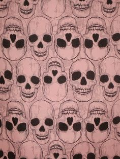 Black on Dusty Pink Yorick Skull Print from Alexander Henry--One Yard