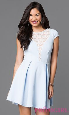 224e2fef8d1 Short A-Line Lace-Back Cap-Sleeve Dress. Day To Night DressesProm ...