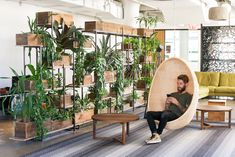 Greenery NYC offers fast and clean installation of office plants as well as full plant maintenance packages. Corporate Office Design, Office Space Design, Modern Office Design, Office Interior Design, Office Interiors, Office Plants, Garden Office, Office Dividers, Office Decor