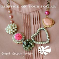 Ladies Lipstick On Your Collar necklace. www.sweetshoppejewelrystore.com