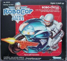 "Box front for the Robocop Robo-Cycle, from the ""Robocop and the Ultra Police"" toy line released by Kenner in the very late 1980s"