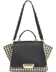 5a6af49b82 ZAC Zac Posen Eartha Gingham Straw Top Handle Satchel with Flower Guitar  Strap