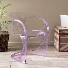 Modern Inspired Design Transparent Purple PC Curvy Accent Chair  #GreatDealFurniture #Modern