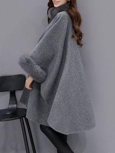 Elegant Faux Fur Patchwork Irregular Turtleneck Women Cloak Coats