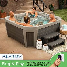 Aquaterra Spas, Brighton 5 or Spa, Plug-N-Play Adjustable Waterfall Underwater Multicolor LED Light Pump allows jet power adjustment Bottom Drain for easy maintenance Dimensions: L x W x H Small Backyard Pools, Backyard Pool Landscaping, Backyard Hot Tubs, Landscaping Supplies, Landscaping Tips, Oval Pool, Jacuzzi Outdoor, Lounge Seating, Cool Landscapes