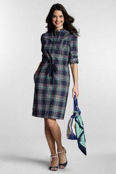 Women's Roll Sleeve Madras 2-pocket Henley Dress from Lands' End