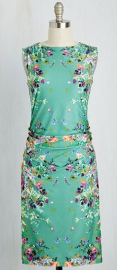 Jade green and floral print column dress with a loose-ruched drop waist