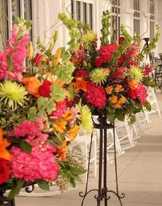 Flowers, Pink, Green, Ceremony, Purple, Orange, Black, Yellow, Alter, Pieces, Little girls big dream event planning design