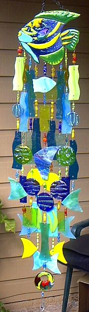 StainedGlassWindChimes [wow this is the most amazing windchime I've ever seen. I love it and must find the supplier. I must have this! ;) Mo]