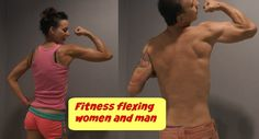 Fitness flexing woman and man