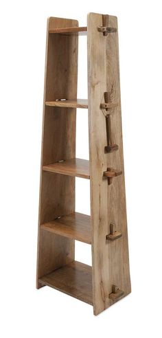"""Lean and clean: A wood shelf takes tusk-and-groove construction to another level. Product Description • Product Dimensions: 69"""" H x 24.5"""" W x 15"""" D • Product Re-Shipper Dimensions: 73"""" L x 17"""" W x 6"""""""