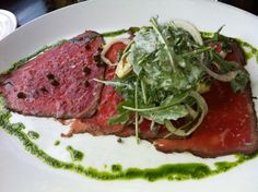 Beef Carpaccio. Essentially raw meat, very delicious.