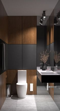Akhunov Architects, The design of the guest bathroom solution without the use of. - Akhunov Architects, The design of the guest bathroom solution without the use of wall tiles, decora - Bad Inspiration, Bathroom Inspiration, Bathroom Ideas, Bathroom Plans, Bathroom Layout, Bathroom Designs, Shower Ideas, Bath Ideas, Toilet And Bathroom Design