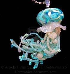 Teal and Seafoam Jellyfish pendant by carmendee