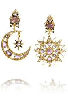 Percossi Papi|Diego Sun and Moon gold-plated amethyst earrings|NET-A-PORTER.COM