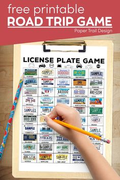 Print this free printable license plate game to play on a road trip with your kids and find all of the different state's license plates. Car Ride Activities, Summer Activities, Summer Crafts For Kids, Summer Kids, Road Trip Games, Thing 1, Paper Trail, License Plates, Printable Paper