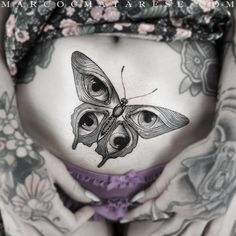 Butterfly etching style tattoo Marco C. Matarese