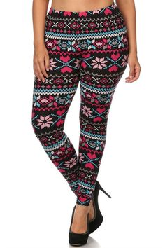 Pink Multi Hearts Design Plus Size Leggings – Niobe Clothing