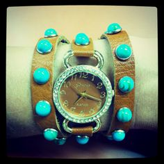Turquoise and leather watch from Designs That Glitter $25